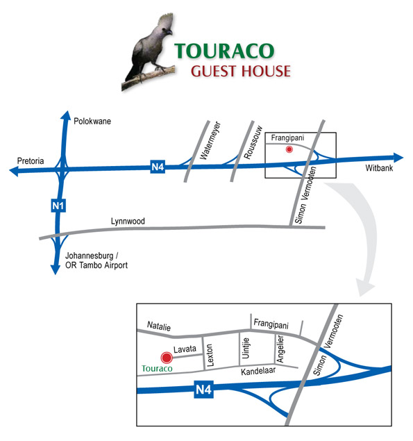 Touraco Guesthouse - Road Map